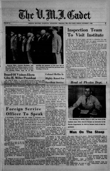 The Cadet. VMI Newspaper. October 07, 1960 - New Page 1 [www2 ...