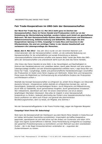Adresse, Zeile 1 - Swiss Fair Trade