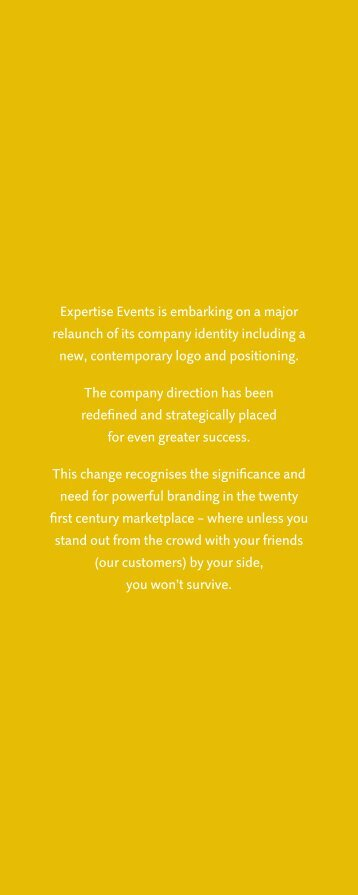 Expertise Events is embarking on a major relaunch of its company ...