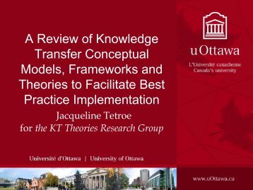 A Review of Knowledge Transfer Conceptual Models, Frameworks ...