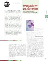 Apports et limites du diagnostic de la trypanosomiase humaine ...