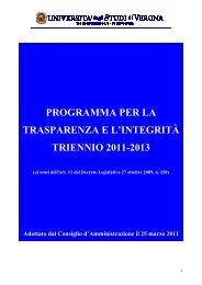 pdf (it, 323 KB, 25/03/11) - Università degli Studi di Verona