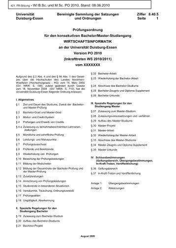 PO 2010 - an der Fakultät für Wirtschaftswissenschaften - an der ...