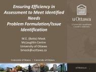Ensuring Efficiency in Assessment to Meet Identified NeedsProblem ...