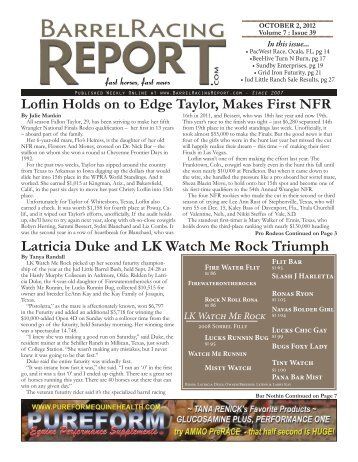 Latricia Duke and LK Watch Me Rock Triumph - Barrel Racing Report