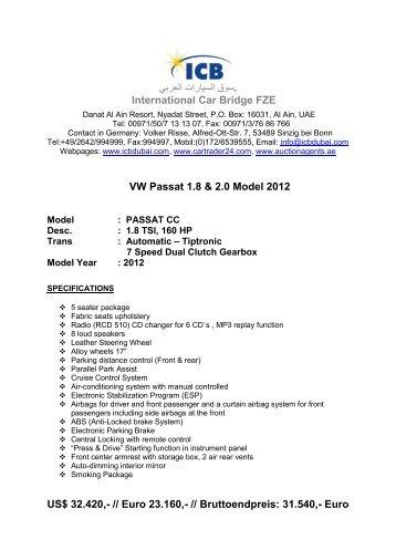 VW Passat 1.8 & 2.0 Model 2012 - ICB - International Car Bridge