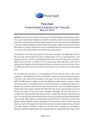 Punj Lloyd Q4 & FY10 Investor and Analyst Meet ... - Punj Lloyd Group