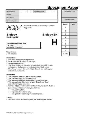 GCSE Biology Specimen Question Paper Higher Specimen ... - AQA