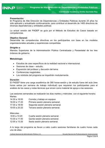 Programa de Alta Dirección de Dependencias y Entidades ... - Inap