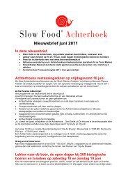 Nieuwsbrief juni 2011 - Slow Food Nederland