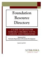 2013 Foundation Resource Directory - Nebraska Department of ...