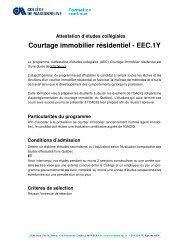 Courtage immobilier résidentiel - Formation continue - Collège de ...