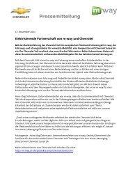 17.11.2011: Elektrisierende Partnerschaft von m-way und Chevrolet