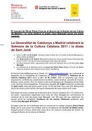Nota de Premsa Setmana de la Cultura Catalana a Madrid 2011