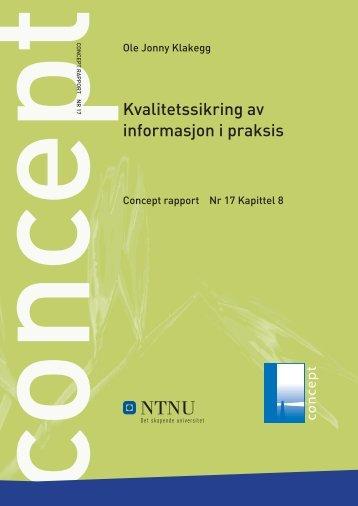 Kvalitetssikring av informasjon i praksis - Concept - NTNU