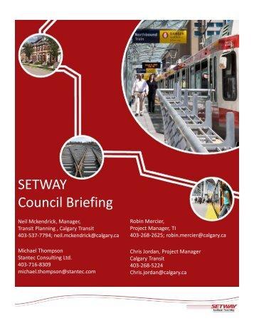 SETWAY Council Briefing - Calgary Transit