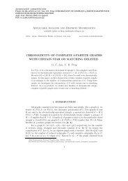 Applicable Analysis and Discrete Mathematics CHROMATICITY OF ...