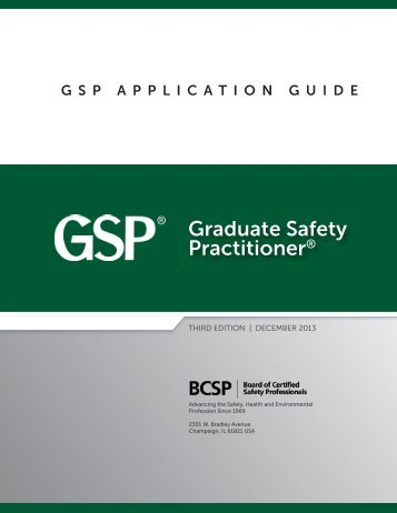GSP Application Guide - Board of Certified Safety Professionals