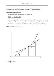 1. Ableitung von Funktionen mit einer Veränderlichen