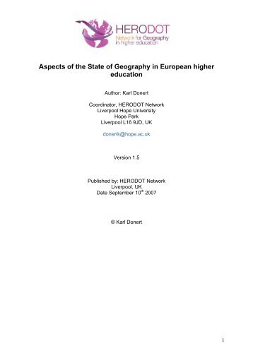 Report - HERODOT Network for Geography in Higher Education