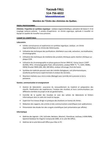 Yacoub FALL - Ordre des chimistes du Québec
