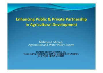 Enhancing Public & Private Partnership in Agricultural Development