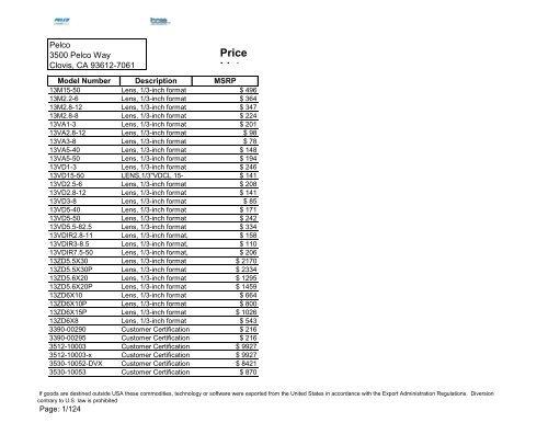 Pelco Price List Siemens Industry Inc