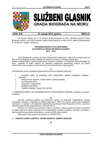 Službeni glasnik Grada Biograda na Moru - broj 4/13 - Grad Biograd ...
