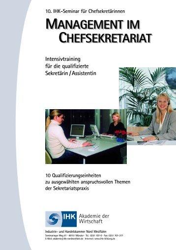 MANAGEMENT IM CHEFSEKRETARIAT ... - IHK-Bildung / Startseite
