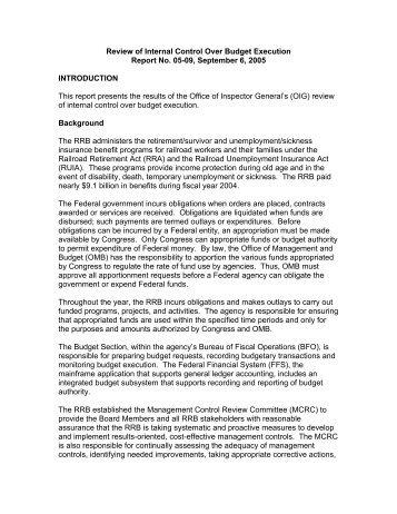 Internal Control Over Budget Execution - U.S. Railroad Retirement ...