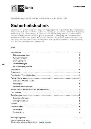 Sicherheitstechnik - IHK Berlin