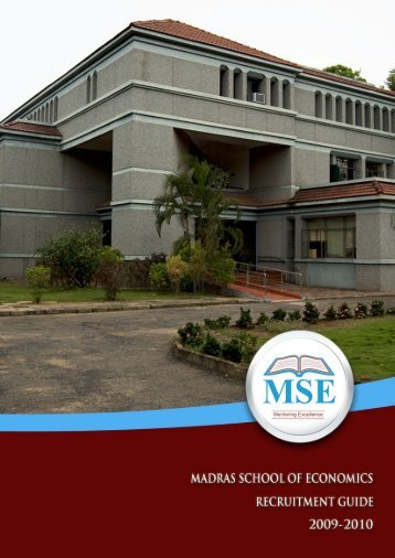 Research and Projects - Madras School of Economics