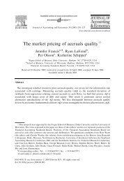 The market pricing of accruals quality - G. William Schwert