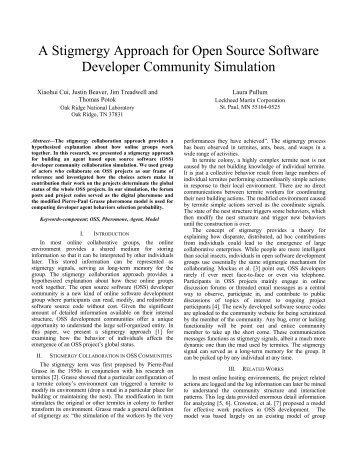 A Stigmergy Approach for Open Source Software ... - ResearchGate