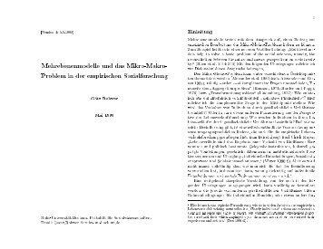 Mehrebenenmodelle und das Mikro-Makro- Problem in der ...