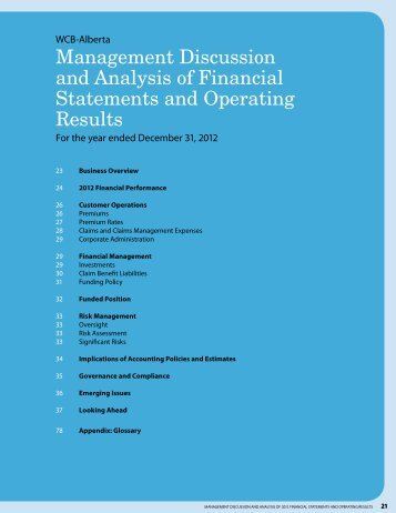 Management Discussion and Analysis of Financial Statements and ...