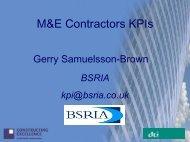 M&E Contractors KPIs - Constructing Excellence