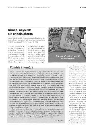 Girona, anys 30: els anhels eterns PopArb i llengua - Raco