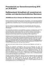 Pressebericht zur Generalversammlung 2010 am 24.06.2010 ...