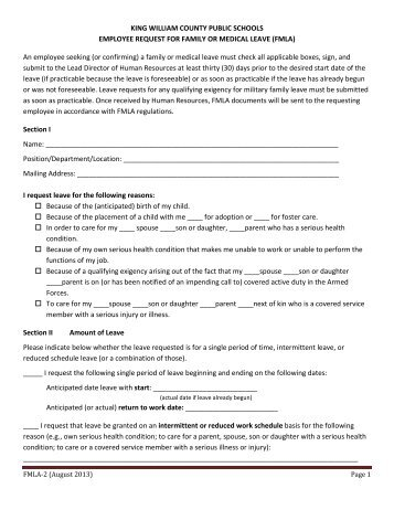 application for fmla intermittent leave or leave on a reduced schedule