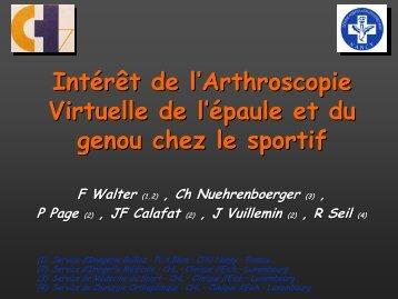 Intérêt de l'Arthroscopie Virtuelle de l'épaule et du genou chez le ...