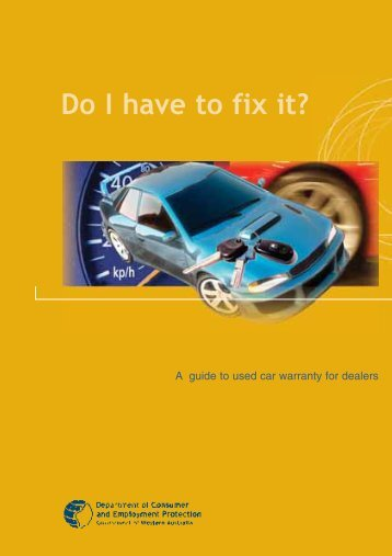 Do I have to fix it?: A guide - Department of Commerce