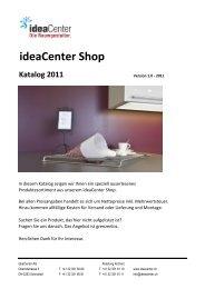 ideaCenter Shop Katalog 2011 Inhaltsverzeichnis