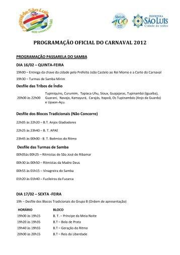 programação oficial do carnaval 2012
