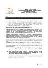 Avis ENSAM Paristech - Commission des Titres d'Ingénieur