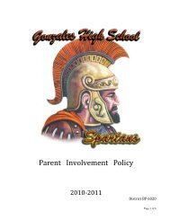 Parent Involvement Policy - Gonzales Unified School District