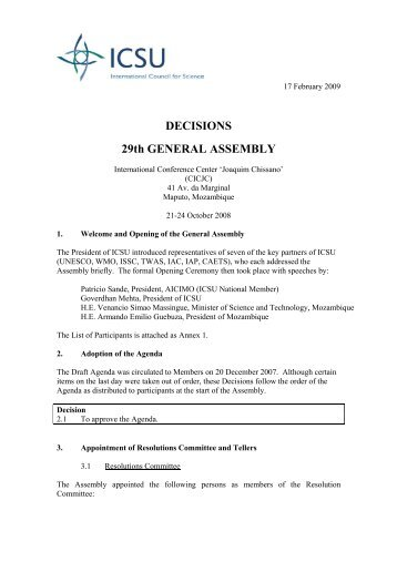 DECISIONS 29th GENERAL ASSEMBLY - International Council for ...