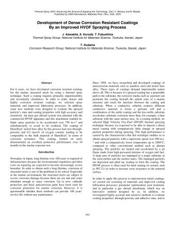 Development of Dense Corrosion Resistant Coatings by an ...