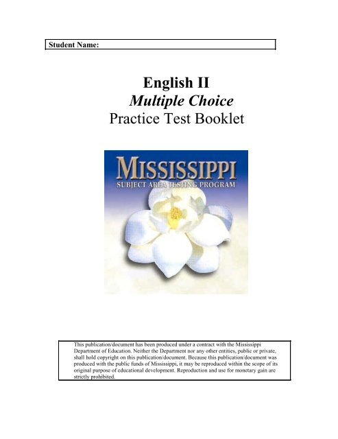 English II Multiple Choice Practice Test Booklet