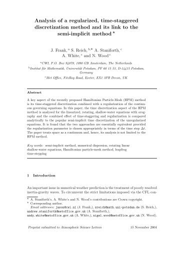 Analysis of a regularized, time-staggered discretization method and ...